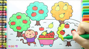 learning how to drawing monkeys picking fruit colorful for kids