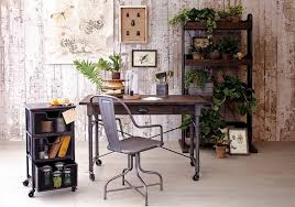 shabby chic white wooden panel home office wall combined with