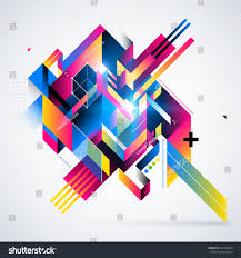 abstract geometric element colorful gradients glowing stock vector