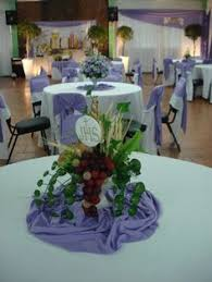 Table Decorations For Funeral Reception 1st Communion Centerpiece Made By Me And My Sister Decorations