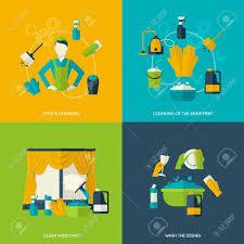 icones de bureau nettoyage concept de design avec des fenêtres de bureau