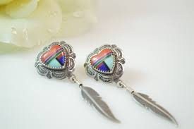 post style earrings southwestern style multi heart feather dangle post earring