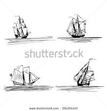 set simple sketch illustrations old sailboats stock vector