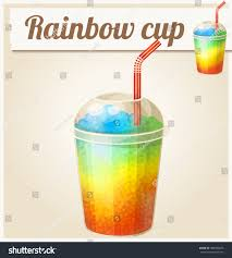 rainbow cocktail drink rainbow ice cup frozen drink cartoon stock vector 484984666