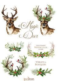 christmas deer christmas deer watercolor deers antlers bullfinches