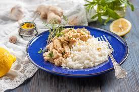 le gingembre en cuisine poulet avec le citron le cari le gingembre et le riz cuisine
