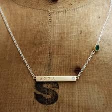 Name Bar Necklace Gold Handmade 9ct Gold Name Bar Necklace