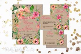 wedding invitations floral summer watercolor floral wedding invitation floral wedding invite
