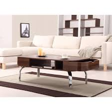 Designer Coffee Tables by Furniture Of America Lawson Modern Walnut 2 Drawer Coffee Table