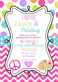 peace love painting birthday party invitations art party