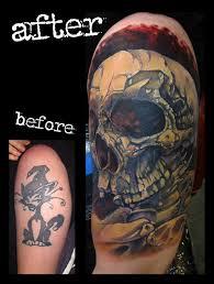 skull cover up arm color by jon glahn tattoos
