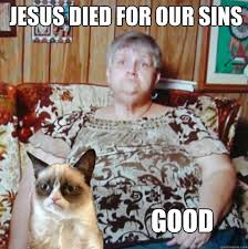 Jesus Cat Meme - jesus died for our sins good grumpy cat and owner quickmeme