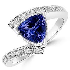tanzanite blue rings images 1 55ct trillion tanzanite diamond engagement cocktail ring jpg