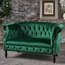 green velvet sofa emerald green velvet sofa wayfair custom tufted