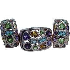 rose gold amethyst diamond ring 14k rose gold multigem earrings ring set peridot amethyst diamonds