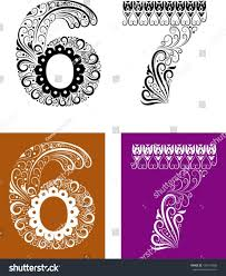 number ornaments 67 easy change color stock vector 106104908