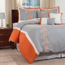 lavish home branches 7 piece orange embroidered queen comforter