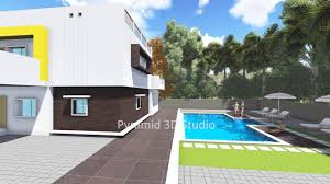 3d walkthrough videos for individual house with swimming pool