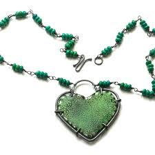 green heart necklace images Deep green heart jpg