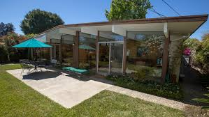 exterior best eichler homes with white paint wall and gable roof