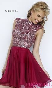short beaded sherri hill prom dress promgirl