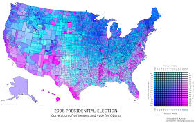 2008 Presidential Election Map by Us County Map Race Party Correlation