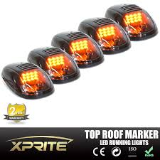 xprite 5pcs black smoked led roof top truck cab marker running