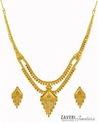 gold set light weight 22k gold set ajns59600 22k gold necklace and