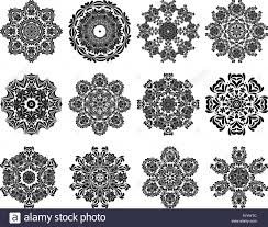 set of 12 circle ornaments in shape of snowflakes stock vector