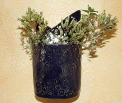 blue wall pocket ceramic handmade hanging planter wall planter