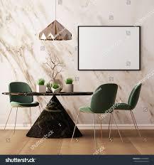 mock poster interior dining room dining stock illustration