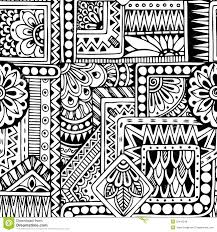 seamless floral doodle black and white background stock vector