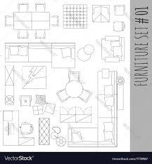 Floor Plan Furniture Symbols Standard Furniture Symbols Used In Architecture Vector Image