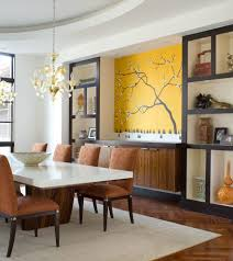 Yellow Chairs Upholstered Design Ideas Built In Buffet Design Ideas Dining Room Contemporary With