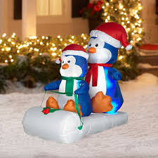 Snoopy Christmas Decorations Walmart by 4 U0027 Tall X 3 U0027 Long Airblown Penguins On Sled Christmas Inflatable