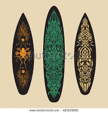 vector surf graphics surfboards decorated geometric stock vector