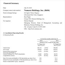summary report template sle financial summary 6 documents in pdf word
