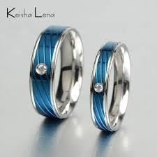 blue titanium wedding band keisha lena thin blue line rings for men woman stainless steel