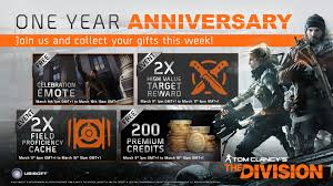 1 year anniversary gifts the division year 2 content will be free to all players one year