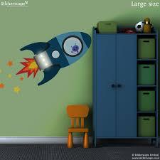 blue flying rocket wall sticker space wall stickers blue flying rocket wall sticker