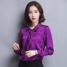 purple silk blouse 2016 fall sleeve satin shirts bow tie silk blouse