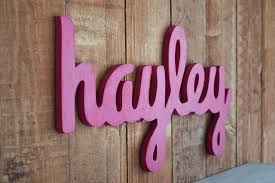 Hayley Nursery Bedding Set by Hayley Baby Name Wooden Sign Nursery Decor Cursive Wooden