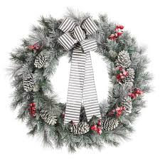 home accents holiday 30 in snowy pine artificial wreath with