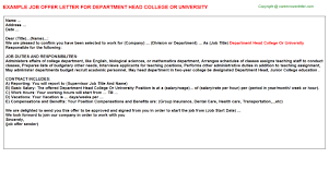department head college or university offer letter