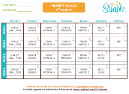 insanity max 30 workout calendar free download max out