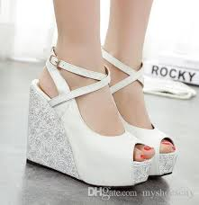 wedding shoes high 2015 2016 white blue wedding shoes high heels platform wedge shoes
