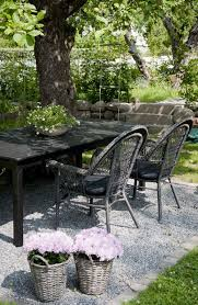 Outdoor Dining Area With No Chairs Casual Black Table And Chairs A Tree Outdoor Spaces And