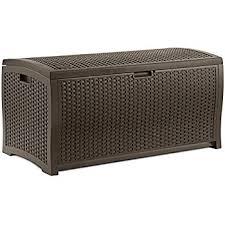Outdoor Storage Bench Seat Amazon Com Outdoor Wicker Storage Bench Seat Box Garden U0026 Outdoor