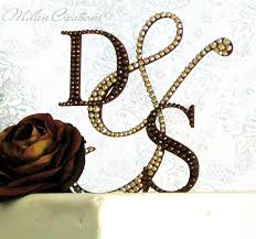 crystallized initial cake toppers with swarovski crystals monogram