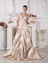 ball gown halter v neck beaded applique satin wedding dress